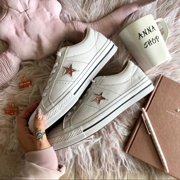 NWT Converse ID Leather low tops rose Gold Custom NWT
